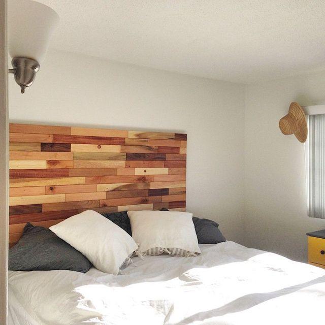 3 cabeceros de cama de madera DIY muy baratos: Cabecero de cama hecho con trozos de listones