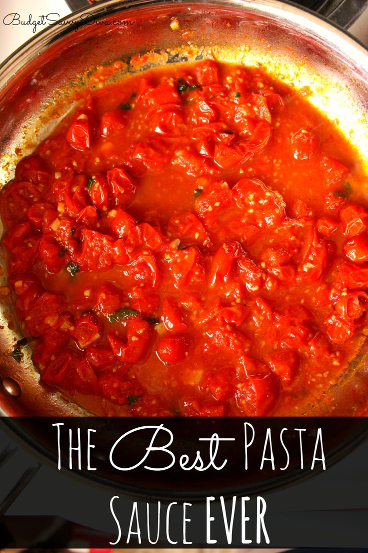 The Best Pasta Sauce Ever Recipe or so She Says~ I doubled the tomatoes,added fresh oregano and pulsed it in the for processor for the kids.
