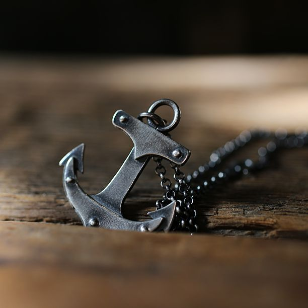 """Limited Edition Sterling Silver Anchor Necklace with Rivets. Great industrial look. Oxidized finish. Unisex Handmade Anchor is approximately 1"""" long. Chain is 18"""" long."""