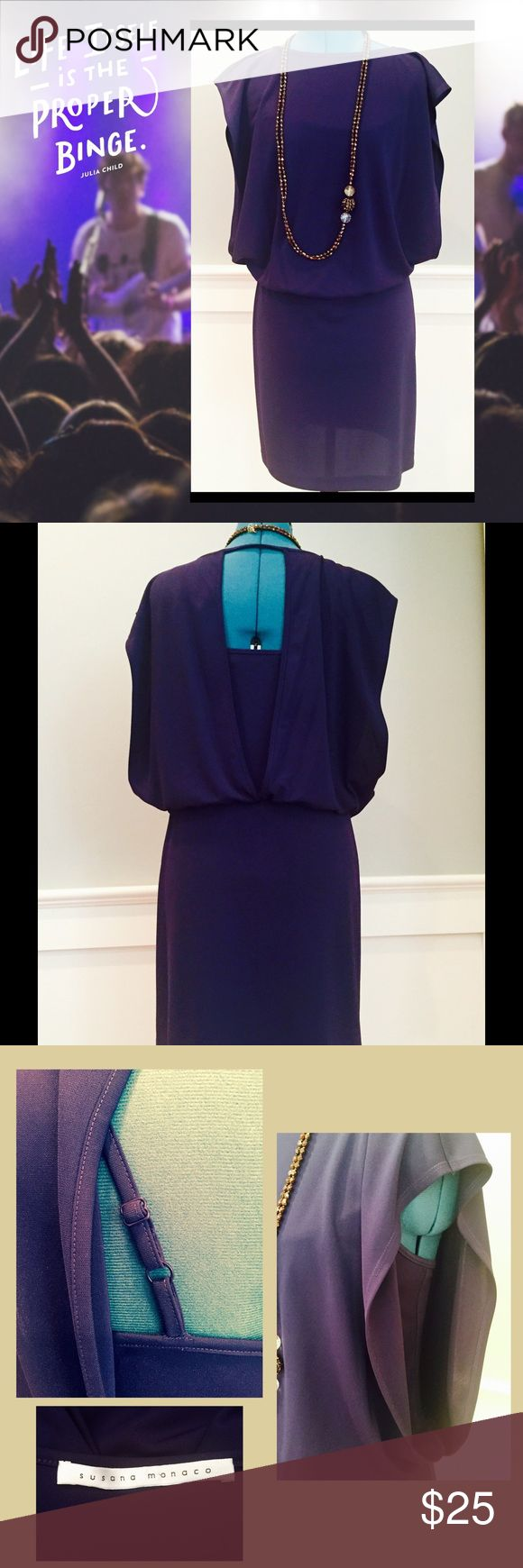 """SUSANA MONACO Deep Blue Sheer Overlay Minidress 100% polyester stretch fabric, slip on styling.  Adjustable strap tank/lining inside dress.  Color is a deep blue with a hint of dark purple/grape.  Back is a deep open V, exposing attached """"tank top"""" underneath.  Large, open style arm holes also expose tank top beneath dress.  Loose fitting overlay on top, bottom mini skirt portion of the dress is more of a snug fit.  I normally wear a 4/6; this dress would work well for either size. Susana…"""
