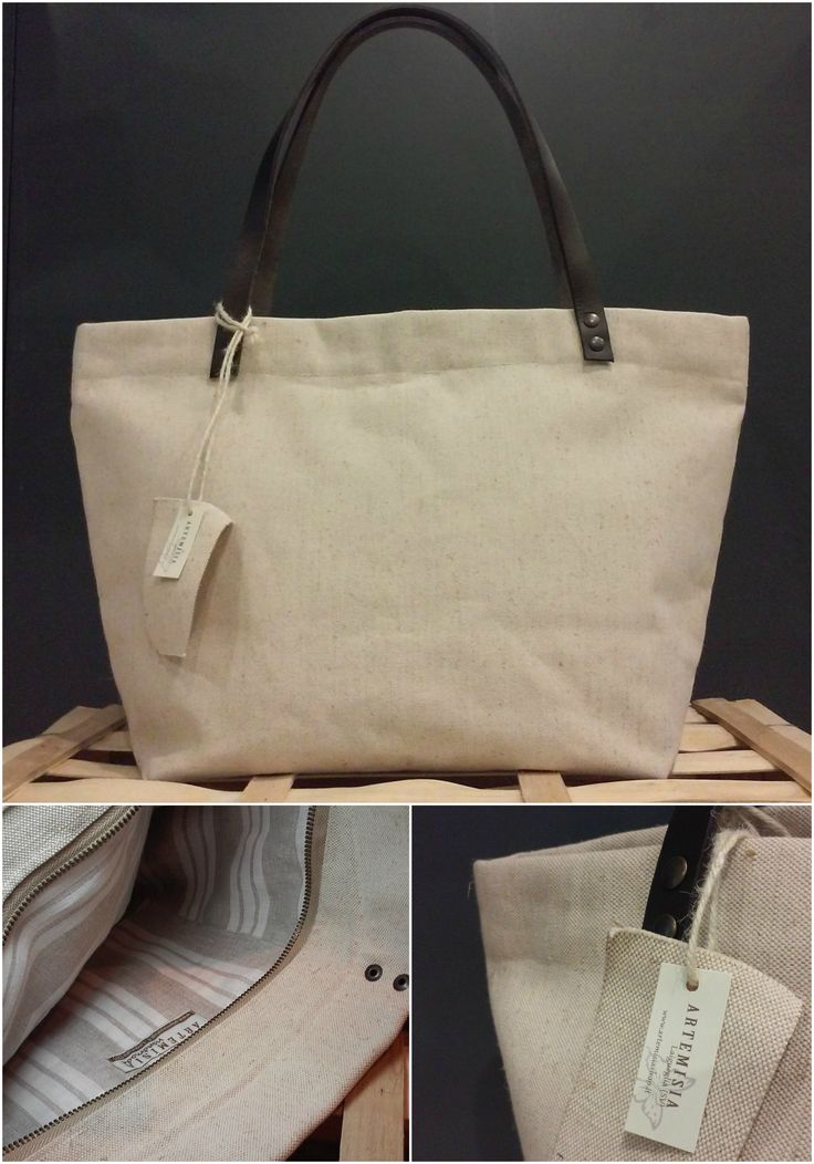 Handmade canvas bag with leather handles. Internal fabric in striped linen.  http://www.artemisiashop.it/shop-online/accessori-moda/borse/