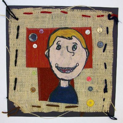 Aminah Robinson Mixed Media fiber weaving sewing self-portraits art lesson project 5th grade burlap yarn