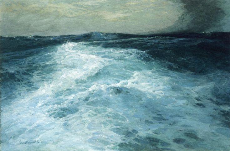 Mid-Ocean (1894) by Charles H. Woodbury (b. July 14, 1864; Lynn, Massachusetts – d. January 21, 1940; Jamaica Plain, Massachusetts) Oil on canvas, h: 124.46 × w: 182.88 cm (49 × 72 in.) Berkshire Museum, Pittsfield, Massachusetts https://en.wikipedia.org/wiki/Charles_Herbert_Woodbury
