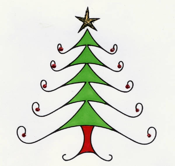 Download This Christmas Tree Digital Stamp for Your Collection