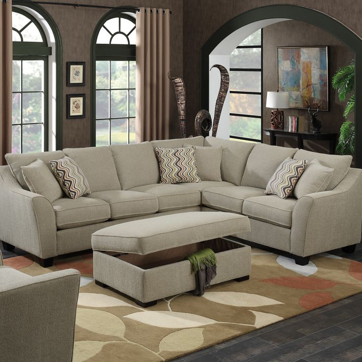 Features:  -8 Way hand tied springs.  -Reversible seat and fixed back cushion.  -pocketed coils in the seat cushion.  -Calvina collection.  -Comes with 2 pillows on LSF.  -Comes with 4 pillows on RSF.