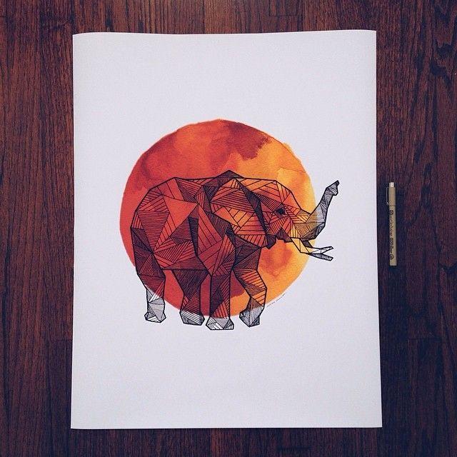 She's a big'n    #art #geometric #ink #watercolor #allisonkunath