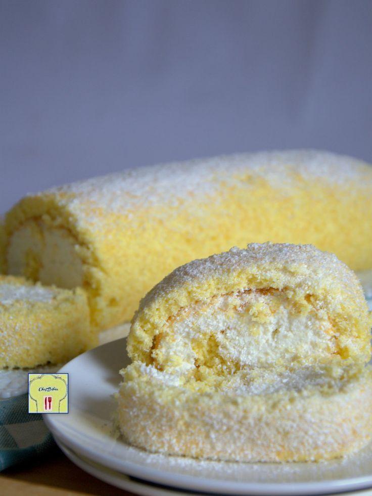 ROTOLO AL COCCO: una ricetta facile e deliziosa, pasta biscotto al cocco farcita di crema di mascarpone e cocco, fresco e delicato, segnatevi la ricetta!