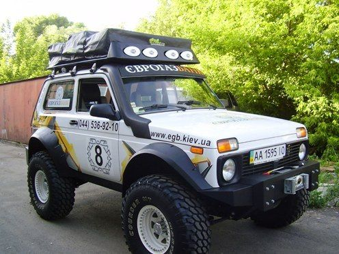 Lada Niva with rooftop tent