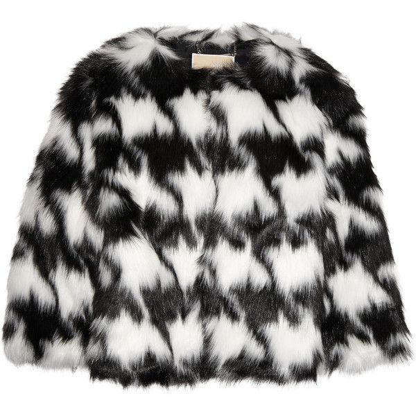 MICHAEL Michael Kors Houndstooth faux fur coat ($175) ❤ liked on Polyvore featuring outerwear, coats, white, fake fur coats, houndstooth coat, michael michael kors, slim fit coat and hounds tooth coat
