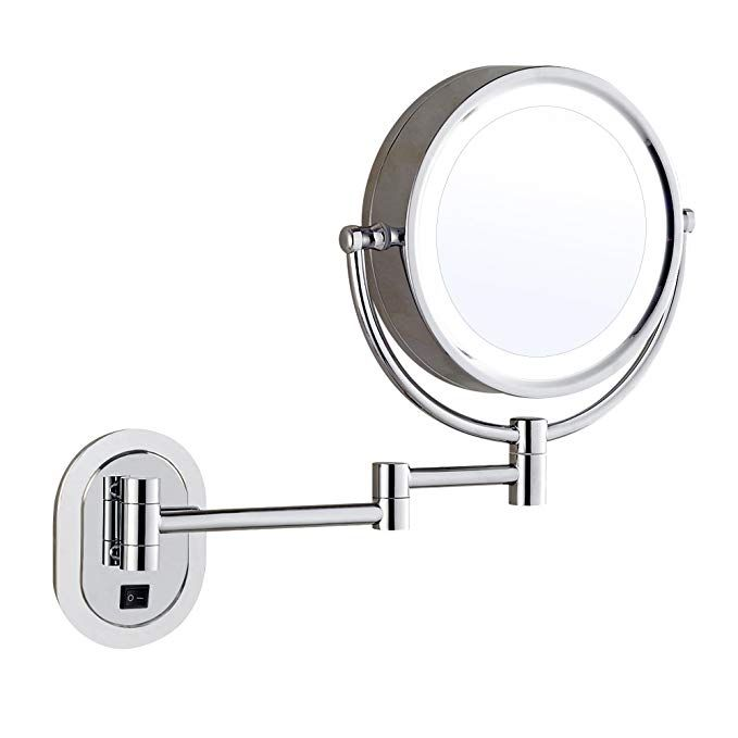 Gecious 10x Magnification Wall Mount Makeup Mirror With Light Led