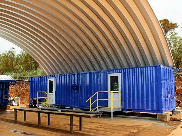Our Steel Arches used to cover an outdoor construction office - what a cool container cover!