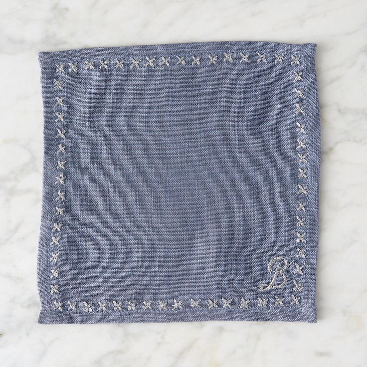 Monogrammed Cocktail Napkin Set, Blue