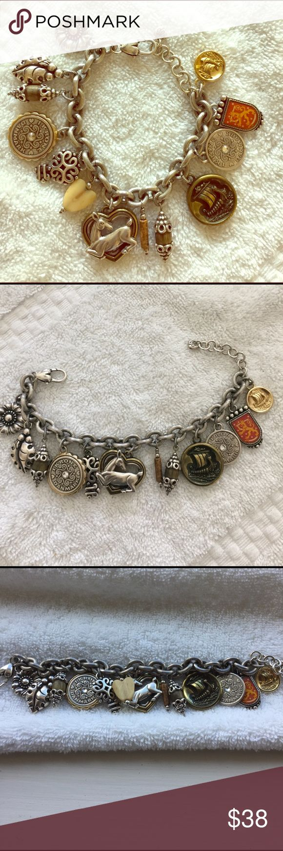 Brighton Charm Bracelet Gorgeous! !Preowned Brighton Charm Bracelet. EUC very light wear. A true charm lovers dream!!😉🌺. Offers Welcome🎉 Brighton Jewelry Bracelets