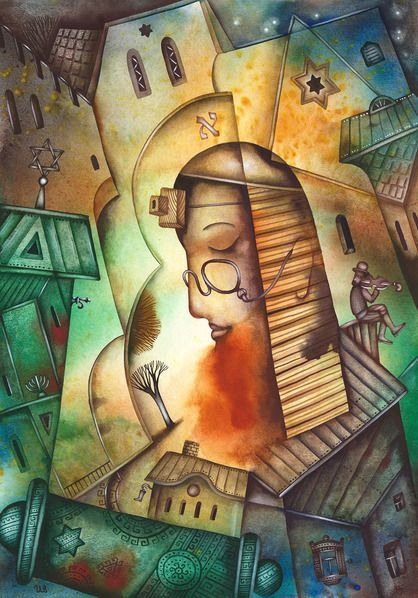 Evening Prayer: Paintings Cubism Paper Watercolor  Biblical   Eugene Ivanov