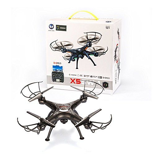 BABADIO 2 Remote Control Mode 4 Channel 2.4G 6-Axis Gyro RC Headless Quadcopter X5SW-1 Drone with Wifi Camera (FPV) for Real Time Video Transmission – Black – RC Radio Control
