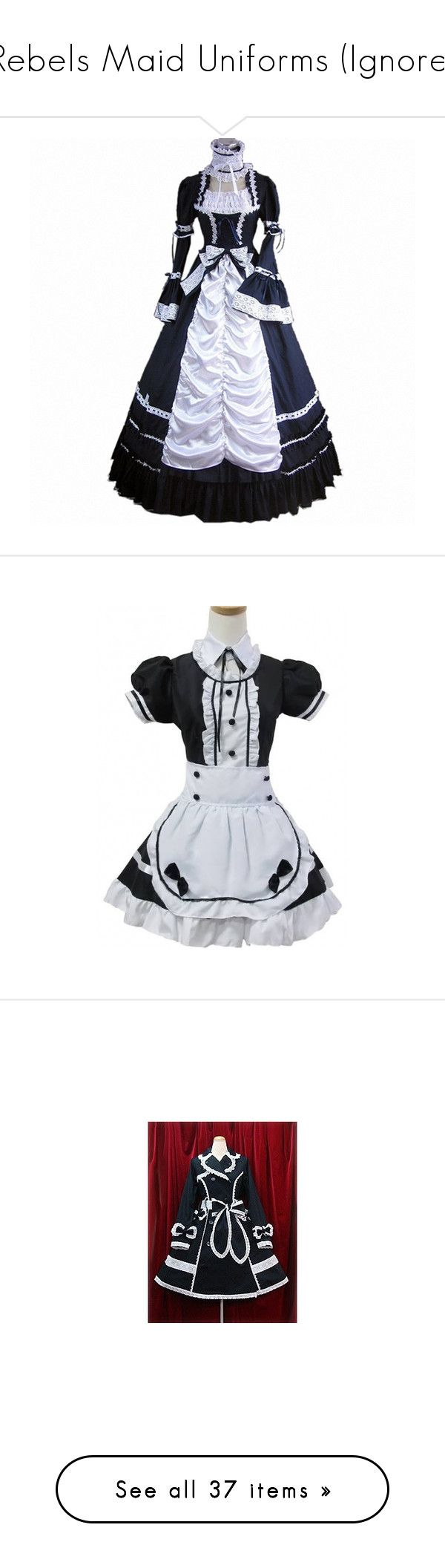 """""""Rebels Maid Uniforms (Ignore)"""" by neverland-is-just-a-dream-away ❤ liked on Polyvore featuring dresses, vintage, white and black dress, black white dress, black and white dress, white black dress, jackets, long sleeve dress, black and white long sleeve dress and white and black strapless dress"""