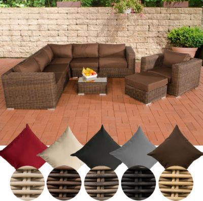 Rattan lounge set rund  Poly-Rattan Lounge Set ARIANO, 5 mm RUND-Geflecht, Alu-Gestell ...