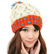 Happy Fashionable Deals! - LOCOMO Men Women Boy Girl Criss Cross Cabled Pattern Multi Color Colorful Knit Beanie Crochet Rib Pom Pom Hat Cap Warm FAF025BEI Beige