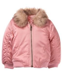 crazy 8 toddler girl pink satin bomber jacket with a fur lined collar