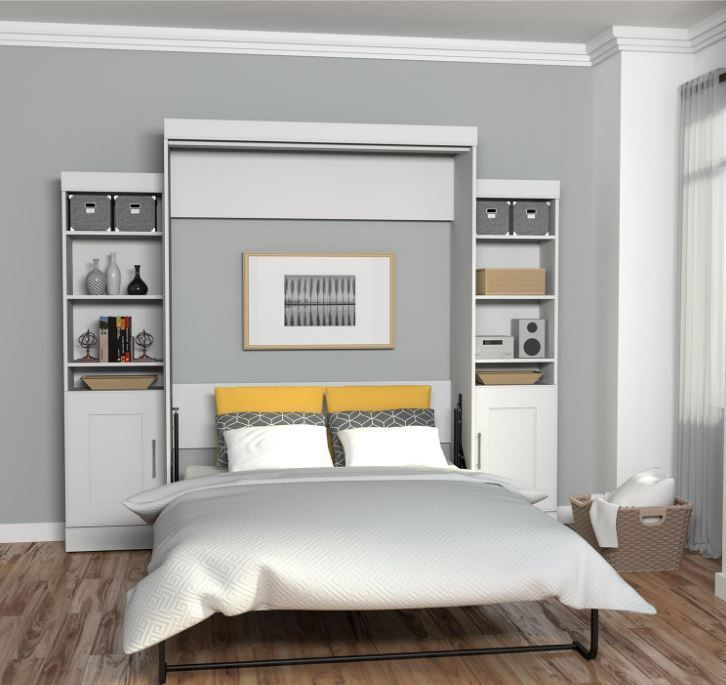 Murphy Bed Kit Queen Frame Wall Mechanism With Bookcase Storage Cabinet White  | Home & Garden, Furniture, Beds & Mattresses | eBay!