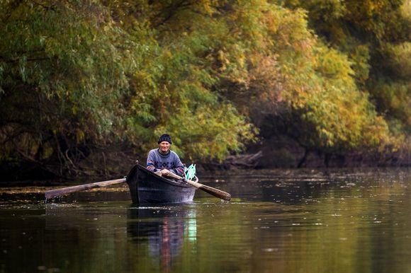 Lipovan fisherman in the Danube Delta