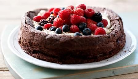 Sophie Dahl's Flourless chocolate cake. All Messy and Pretty! Recipe available on the BBC website.
