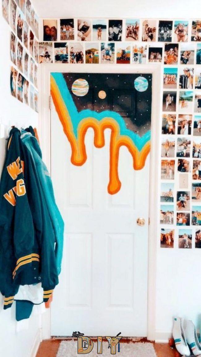 53 Diy Ideas Cool Easy Paintings Canvas Wall Painted Bedroom Doors Room Decor Cute Room Decor