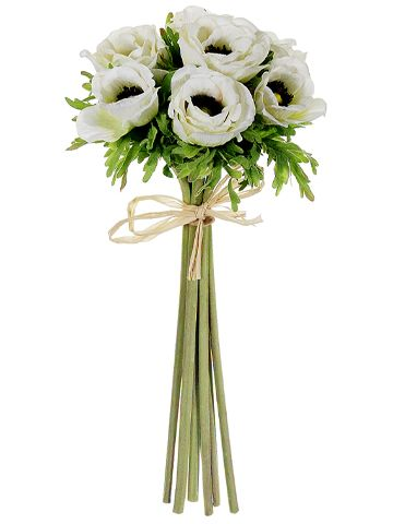 "14.5"" Anemone Bundle in Cream with Black Centers #artificial #silk #flowers…"