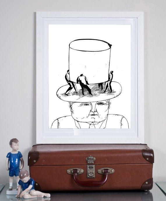 high hat ... Illustration art giclée print Signed by Tomek Wawer #tomasz wawer #poster #black #hat