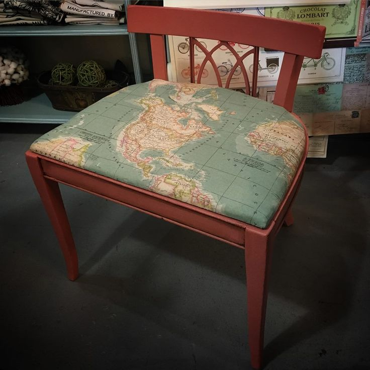 My client brought this vanity stool to me in pieces. I reattached a leg, and tightened up the joints of the other three. He selected Scandinavian Pink Chalk Paint® by Annie Sloan with a little Dark Wax antiquing. I recovered the seat in a nice vintage map upholstery fabric.