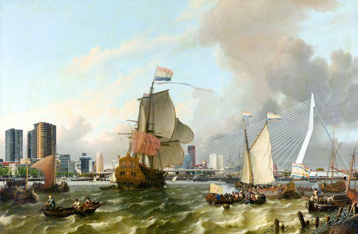 Het fregat Brielle De prent is een combinatie van het schilderij van Ludolf Backhuysen uit 1689 en hedendaagse foto's. Menno van der Weerd fotografeerde vanaf hetzelfde punt waar de schilder zich bevond om zijn schetsen te maken voor het schilderij, waar nu de Wilhelminapier is, ter hoogte van Hotel New York. In het centrum bevindt zich de Brielle, een met vijftig stukken uitgerust oorlogsschip van de Admiraliteit van Rotterdam.