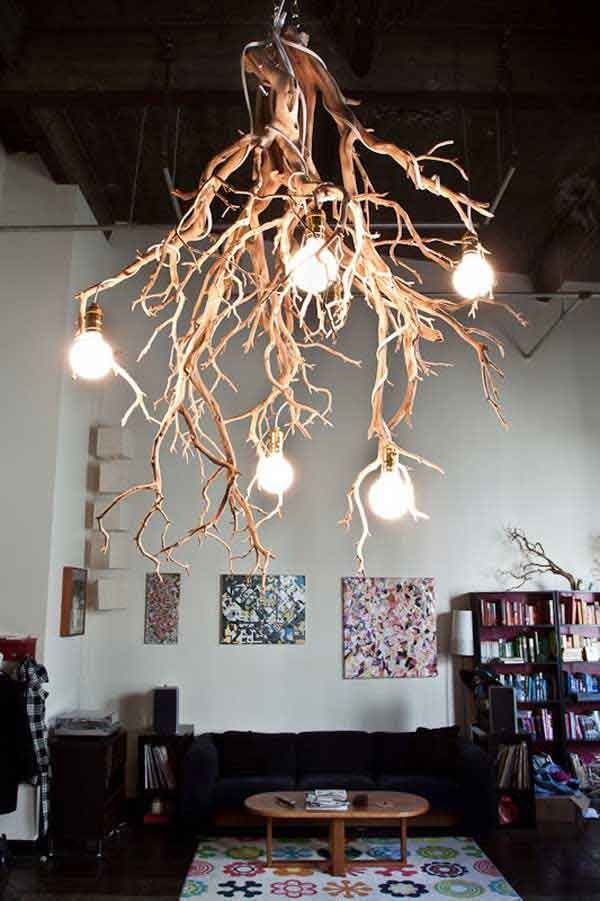 Awesome Tree Branch Light Fixture : Rustic Tree Branch Light Fixture Design Ideas And Nice Sofa And Table View