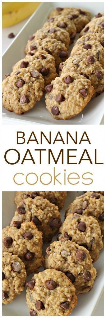 Banana Oatmeal Cookies from SixSistersStuff | Healthy or not, this cookie recipe is delicious! So soft and full of flavor - you could even swap nuts or raisins for the chocolate chips to make them a little more healthy!