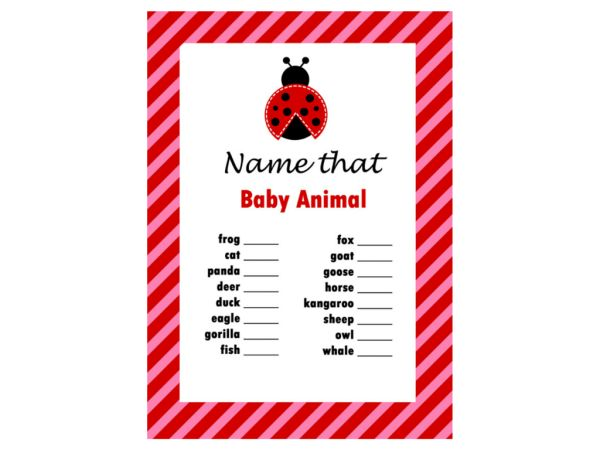 name that baby animal game ladybug theme baby shower games