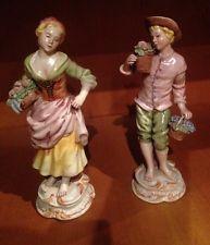 Coppia statue Ceramiche Di Bassano, Fanciulli raccolgono fiori,dipinto A Mano