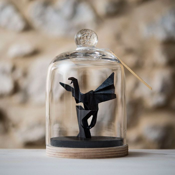 Artist Found An Amazing Way To Preserve Origami By Using Glass Bell Jars
