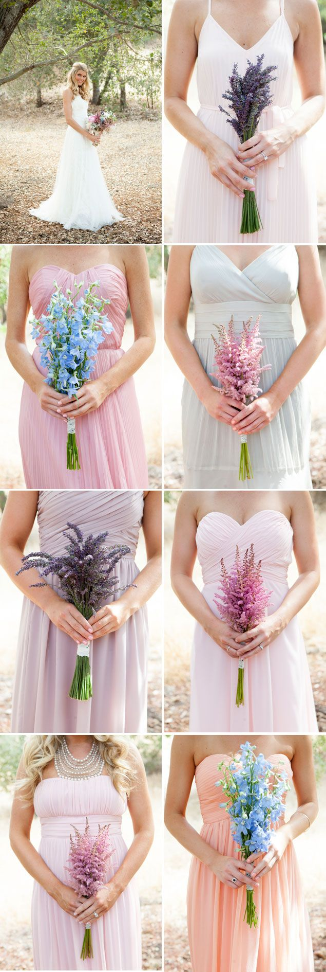 Mix-matched Bridesmaid Bouquets in Pastels PHOTO SOURCE • KRISTEN BEINKE PHOTOGRAPHY