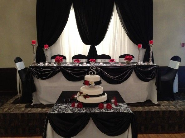 Black and white Damask head table with red accents by ...