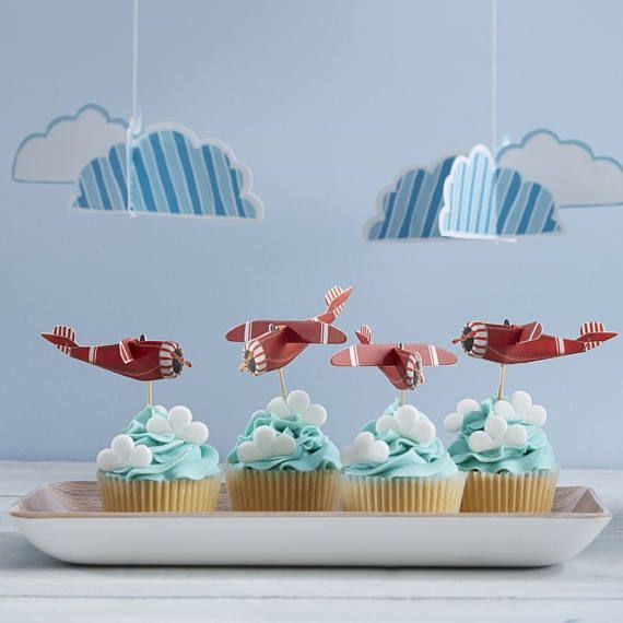 Flying High- Vintage Plane 3D Cupcake / Cake Sticks , Birthday Party, 1st Birthday, Aeroplane Decorations, Plane Party, Cupcake toppers