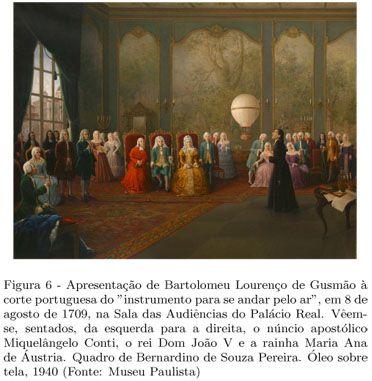Apresentação do aeróstato por Bartolomeu de Gusmão, na corte portuguesa.