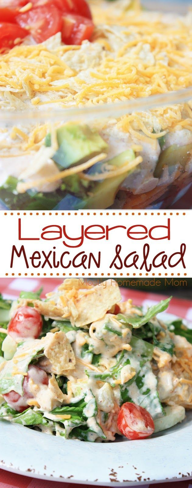 Layered Mexican Salad - Layers of romaine lettuce, cucumber, cherry tomatoes, avocado, cheddar cheese, and crushed tortilla chips in a homemade taco dip dressing - get your family eating those veggies again!