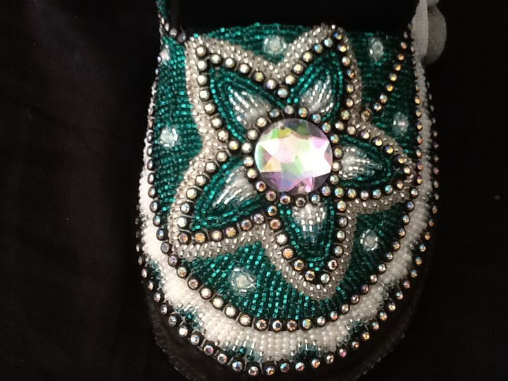 Large turquoise and silver star flower raised beadwork