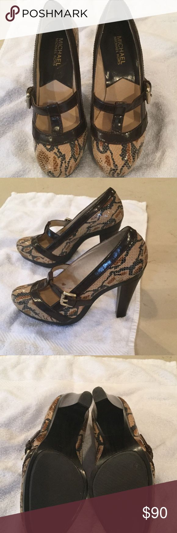 Michael Kors Animal Print High Heeled Pumps Really cute high heeled stylish animal print MaryJanes , shiny and gorgeous. Barely worn. Great shoes! MICHAEL Michael Kors Shoes Heels