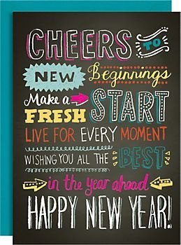 New Year Chalk Typography A6 Holiday Cards