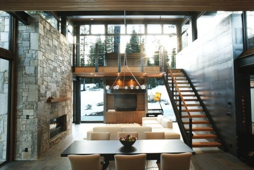 fireplace: Modern, Dining Rooms, Cabin, Interior, Dream, House, Mountain Homes, Design