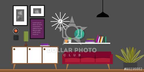 living room interior, furniture in flat vector illustration