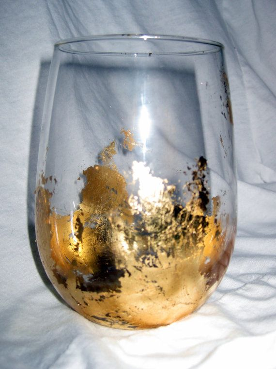 Gold Leaf Stemless White Wine Glass By Elmdesignleaf On