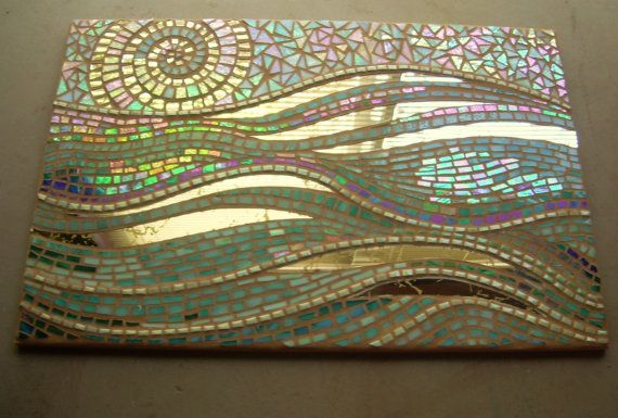 "Abstract ""Waves"" interior mosaic, made to order, stained glass, vintage mirror…"