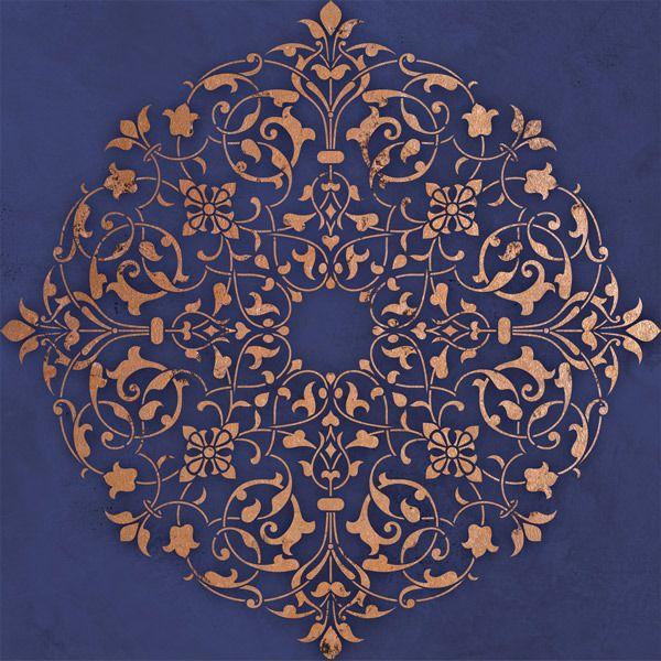 Ceiling Stencils   Arabesque Ceiling Medallion   Royal Design Studio