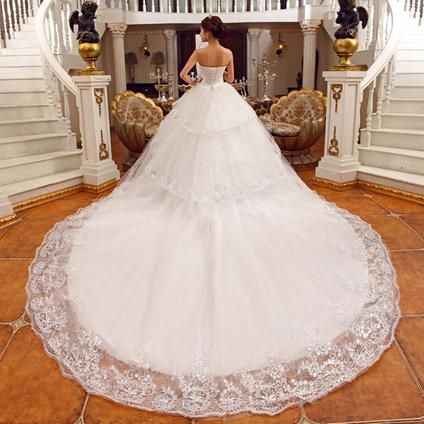 Free shipping strapless beaded sequin cathedral train ball for Dressilyme wedding dress